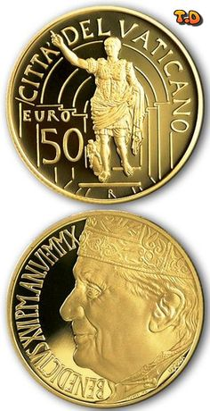 N♡T.50 euro: Masterpieces of Sculpture – Apollo of Belvedere and Augustus of Prima Porta Country:Vatican City Mintage year:2010 Issue date:12.10.2010 Face value:50 euro Diameter:28.00 mm Weight:15.00 g Alloy:Gold Quality:Proof Mintage:3,050 pc proof Mint:IPZS (Italia)
