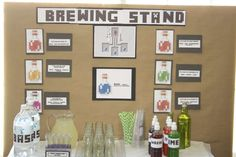 "The brewing stand, probably the most fun the kids had! We used seltzer water as the ""base"" and snowcone syrups for the Potions. I had plastic test tubes, and the kids were able to follow the recipes on the board to create their potions #minecraft"