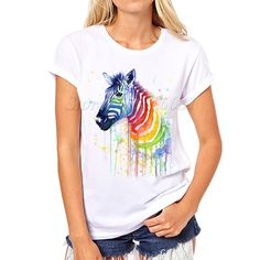 2017 Watercolor Rainbow Zebra  print t shirt women lovely style hot sale shirt comfortable soft women tops