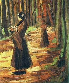 Two Women in the Woods | Vincent Van Gogh | oil painting #vangoghpaintings