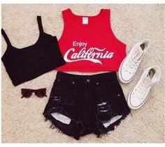 Image from http://picture-cdn.wheretoget.it/ta1v6o-l-610x610-shirt-red-tank--crop-cali-california-cola-coca+cola-sweet-cool-shorts-shoes.jpg.