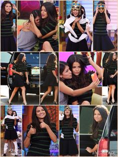 She appearance on Despierta America The brunette beauty put her slim pins on parade as she was on the Spanish morning show aired on Univision to promote her upcoming flick Hotel Transylvania 2. Selena looked in fine form as she wore a black short sleeved knit top featuring green stripes tucked into a black mini skirt. The flowy, short bottoms accentuated her svelte legs as she completed the look with a pair of patterned dark green heels featuring a furry ball just over the toes.