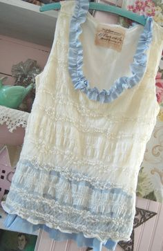 Altered Lacey Tank Top Silk Ruffles Shabby Chic by OfLinenandLace, $38.50