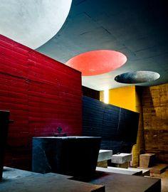 Convent of La Tourette, Le Corbusier. Big bold shapes and colours.