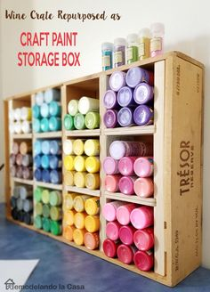 A repurposed wine crate for #paint #storage - storage furniture idea - If you're in need of craft storage ideas for your #craftroom then this list is exactly what you need to read!