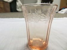 Vintage Depression Glass Pink Cherry Blossom Juice Tumbler