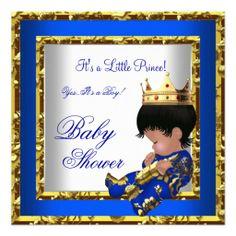 Baby Shower Royal Blue Gold Boy crown prince 2