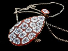 "Vintage Millefiori Sterling Silver Necklace Red Blue Mosaic Art Glass 18"" Long 