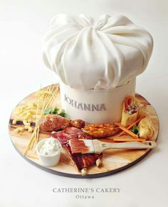Food and Chef's Hat cake 3d Cakes, Fondant Cakes, Cupcake Cakes, Fondant Bow, Fondant Tutorial, Fondant Flowers, Pretty Cakes, Beautiful Cakes, Amazing Cakes