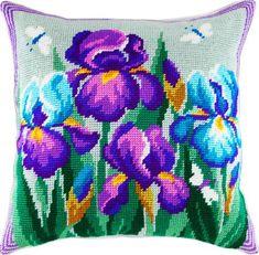 Irises pillowcase cross-stitch DIY embroidery kit