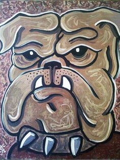 """Mississippi State """"Bully"""" Mascot Painting. Ms State University, Mississippi State Football, Ole Miss, Sec Football, College Football, Auburn Tigers, Bulldog Drawing, Lsu, Alabama"""
