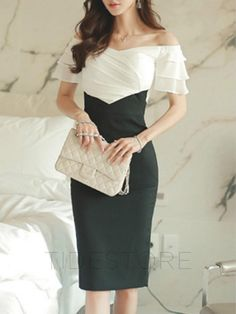 AdoreWe - tidestore OL Color Block Layered Sleeve Ruffle Detail Slash Neck Bodycon Dress - AdoreWe.com