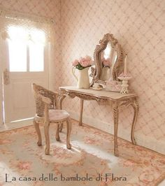 French Marie Antoinette dressing table & stool - 1/12 dolls house dollhouse miniature