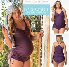 Shake Fuller Bust Maternity & Nursing Tankini swimsuit from Rosewater fits DD-G Cups in S-XL. Gorgeous Plum color and adjustable side drawstrings on tankini top and full coverage bikini. $94.99 at: http://www.mommygear.com/shake-maternity-nursing-tankini.htm