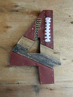 Upcycled Football Number 4 or any number of by hatchettdesigns, $38.00