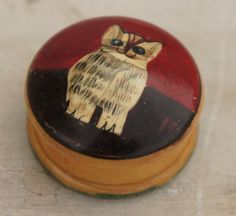 Wooden Pillbox With Handpainted Cat by SycamoreVintage on Etsy, $12.00
