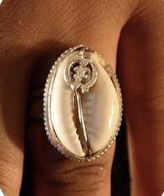 One of a Kind Cowrie Shell Ring Sterling Silver Jewelry African Adinkra Symbol Afrocentric Ethnic Gifts