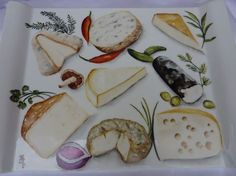 PLATEAU_FROMAGES                                                                                                                                                                                 Plus Pottery Painting, Ceramic Painting, Ceramic Art, Porcelain Ceramics, Ceramic Pottery, Bread Art, Kitchen Prints, Glaze Recipe, Food Drawing