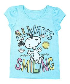 Perfect for my always-smiling baby :)  This Light Blue Snoopy 'Always Smiling' Tee - Toddler is perfect! #zulilyfinds