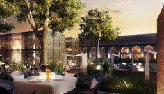Luxury hotel courtyard we visualized in Azerbaidjan. Hotel Interiors, 3d Visualization, 3d Artist, Table Decorations, Luxury, Home Decor, Decoration Home, Room Decor, Home Interior Design
