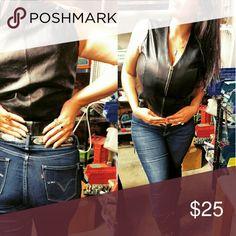 Zip up leather biker top XL genuine leather women's biker zip up vest top Tops