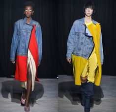 Lutz Huelle 2017-2018 Fall Autumn Winter Womens Runway Catwalk Looks - Mode à Paris Fashion Week Mode Féminin France - Hybrid Half & Half Split Panels Denim Jeans Hanging Sleeve Trucker Bomber Jacket Acid Wash Cargo Pockets Long Sleeve Shirtdress Plush Fur Shearling Outerwear Coat Maxi Dress Silk Satin Tweed Waffle Quilted Puffer Down Material Metallic Silver Leg O'Mutton Sleeves Bell Hem Cropped Pants Embroidery Bedazzled Sequins Knitwear Sweater Oversized Exaggerated Proportions Pointed…