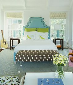 misty blue and lime green girls bedroom