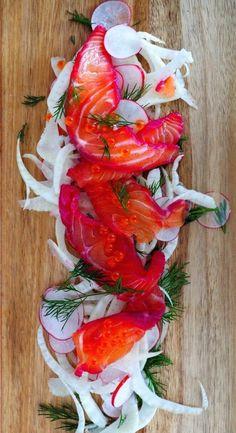 Hendrick's gin X beetroot cured salmon