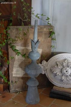 Ancien épi de faitage en zinc Brocante de charme atelier cosy.fr