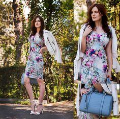 Little Mistress Multi Colour Floral Waffle Cap Sleeve Dress, Bb Dakota Jacket, Mango Heels, Persunmall Baby Blue Bag