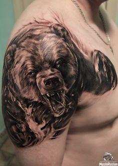 Bear Paw Tattoos, Grizzly Bear Tattoos, Wolf Tattoos, Animal Tattoos, Mountain Sleeve Tattoo, Wolf Tattoo Sleeve, Tattoos For Guys Badass, Cool Arm Tattoos, Traditional Tattoo Inspiration