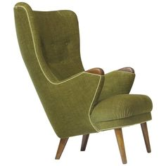 1950s Schiller Highback Danish Lounge Chair | From a unique collection of antique and modern wingback chairs at https://www.1stdibs.com/furniture/seating/wingback-chairs/