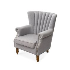 Warmiehomy Armchair Fabric Linen Fabric Accent Upholstered Chair Armchair Wing Back with Solid Wooden Legs Living Room (Grey) Wood Arm Chair, Upholstered Chairs, Wingback Chair, Arm Chairs, Pink Chairs, Office Chairs, Living Room Grey, Living Room Chairs, Dining Room