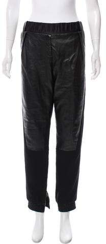 Black Prabal Gurung high-rise joggers with leather paneling throughout and elasticized trim at waistband and hems. Prabal Gurung, Athletic Pants, Parachute Pants, Joggers, Leather, Clothes, Black, Women, Fashion