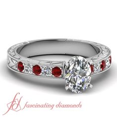 Oval Shaped And Round Diamonds and Red Ruby 14K White Gold Vintage Engagement Ring in Pave Setting    Milgrain Arrow Ring