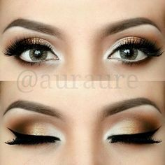golden smokey eye. black winged liner. natural arched brows. highlighted inner corners. #bronzebeauty