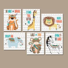 TRIBAL Nursery Wall Art,Canvas or Prints Woodland Quotes,AZTEC Nursery Decor,Zoo Animals, Tiger Lion Zebra Monkey Giraffe Elephant, Set of 6