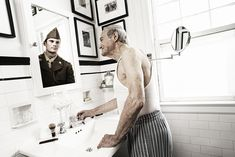 """10 photos of older people seeing their younger reflections -- Tom Hussey...""""I can't believe I'm going to be 80,"""" he told Hussey. """"I feel like I just came back from the war. I look in the mirror and I see this old gu..."""
