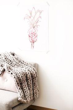 Kissen - Strickdecke aus Loopy Mango Big Loop Garn - ein Designerstück von lebenslustiger-com bei DaWanda