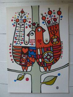 Vintage 60s Swedish textile print / Lars Nyman / by Scandivintage/Etsy