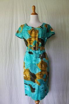 Calvin Klein Aqua & Yellow Ocher Linen Blend short Sleeve Summer Sheath Dress 6 #CalvinKlein #Sheath #WeartoWork