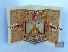 Diana Clews - Pop-out Fireplace - Christmas Create-a-Card die: Fireside - Kraft cardstock - Timeless A3 double sided card - Textures embossing folder: dry stone wall - Die'sire dies: Ivy, Poinsettia, Robin & Foliage - #crafterscompanion #Christmas