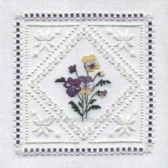 Buy Hardanger Pansies Embroidery Kit Online at www.sewandso.co.uk