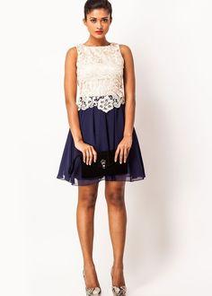 #dress #lace #cutout via #bateau #evening #short #A-line @Roposo