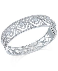 Diamond Flowers-and-Lace Bangle Bracelet (6 ct. t.w.) in 14k White Gold