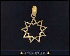 BBP3  Brass Baha'i 9 Star Pendant Nickel free by 9 Star Jewelry #bahai #bahairings #bahaipendants #bahaijewelry #9starjewelry