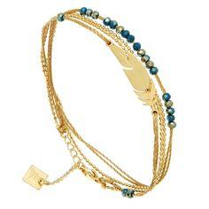 Bracelet plume cristal Zag bijoux (doré et bleu)