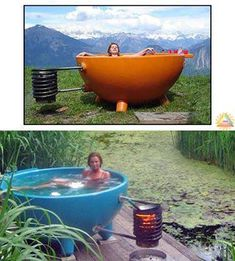 "The DutchTub, a ""low-tech"" jacuzzi that uses a very rudimentary heat exchanger coil to heat the water. This idea can be used for heating water via open flame, adjoining grills or stoves, coiling about exhaust stacks, generator exhaust tubes, solar heating units, or generally anything that generates a good amount of heat for any amount of time. In this way one can easily heat water, even large amounts of water, for survival, emergency or off-grid living conditions of any sort. weltevree.nl:"