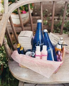 These gift baskets for hotel guests included all things to make them feel comfortable: spring water, lip balm, insect repellent, chocolate -- and hangover remedies Wedding Welcome Bags, Wedding Favors, Wedding Gifts, Wedding Ideas, Wedding Inspiration, Wedding Stuff, Wedding Decorations, Send Gift Basket, Gift Baskets