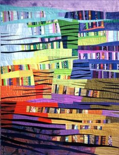 A quilter to admire.  See her website:   Odette Tolksdorf  some heaven some earth no.1, 1996  Quilt National  Size: 110 x 145 cm